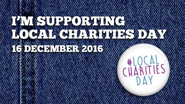 Demin material with wording saying 'I'm supporting local cahrfities day, 16 December 2016'. Also displays a badge saying #LocalCharitiesDay.