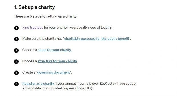 A GOV.UK page showing 6 steps to set up a charity.