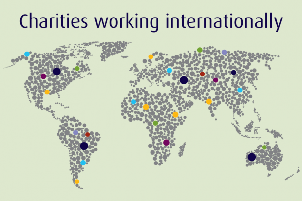 A world map with the words 'Charities working internationally'.