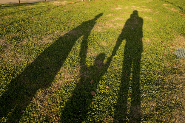 A photograph in a park showing the shadows of two adults holding a child's hand.