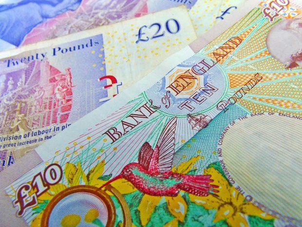 British pound notes.