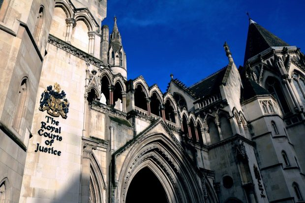 A photograph of the High Court in London.